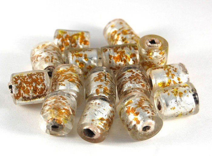 Lotto 2 perle in vetro a cilindro foglia oro 2 cm