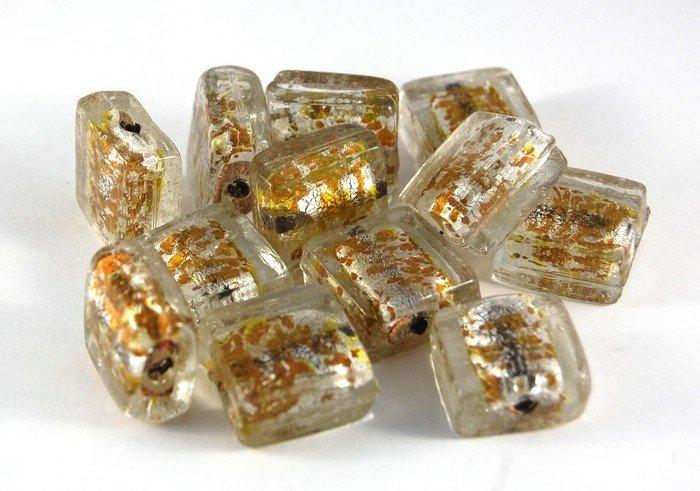 Lotto 2 perle quadrate in vetro foglia oro 2 cm