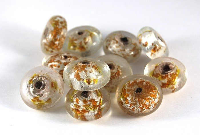 Lotto 2 perle sfera schiacciata vetro foglia oro 2 cm