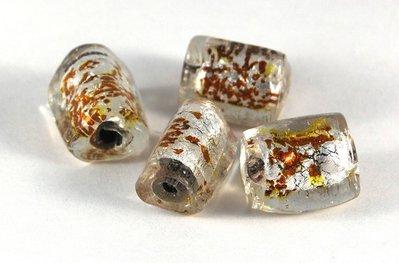 Lotto 2 perle trapezio vetro foglia oro 2 cm