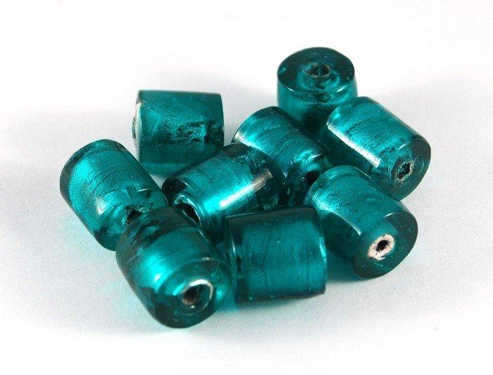 Lotto 2 perle cilindro verde smeraldo vetro murano