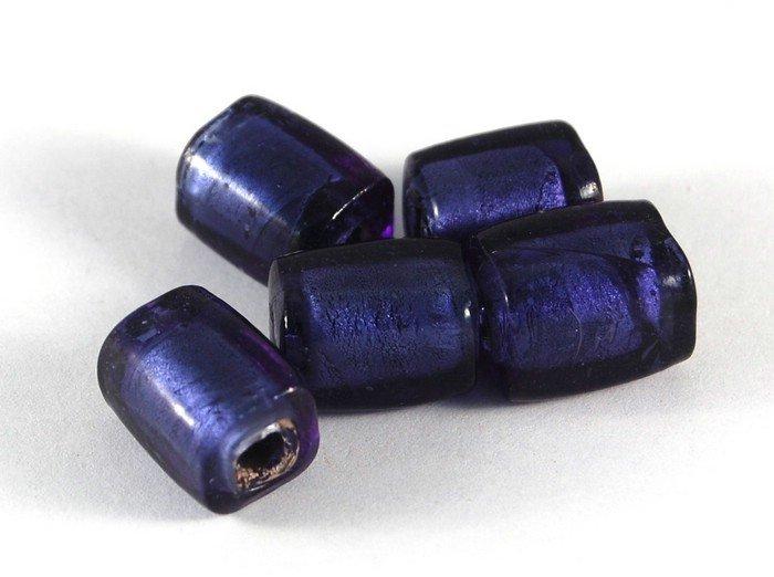 Lotto 2 perle cubiche viola/blu vetro murano 2 cm