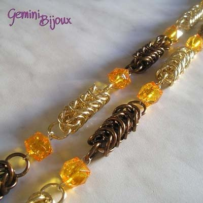 Collana Chainmail Cubi Marrone Gold