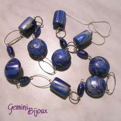 Collana Fimo Blu Argento