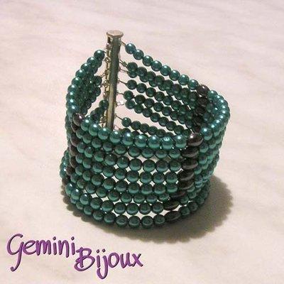 Bracciale 8 file turquoise
