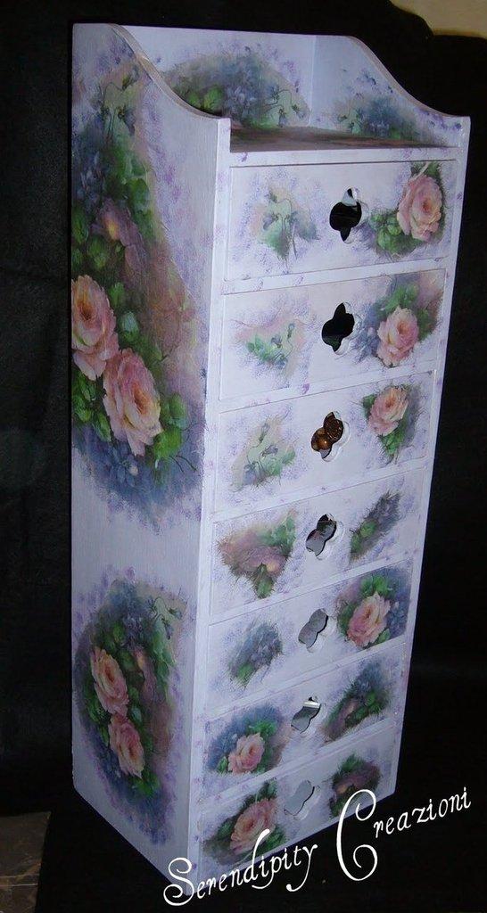 Cassettiera Decoupage