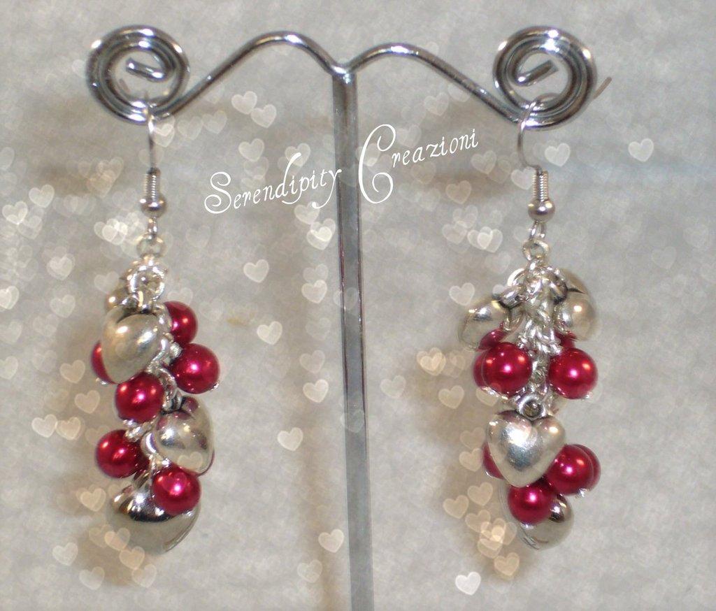 SAN VALENTINO, Orecchini Cuori e perline rosse