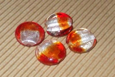 4 perle vetro foglia argento S.