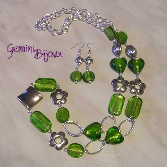 Collana Verde con Orecchini