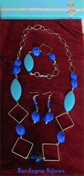 parure perle e perline blu e turchesi