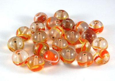 Lotto 2 perle sfera trasparente vetro di murano 1,5 cm