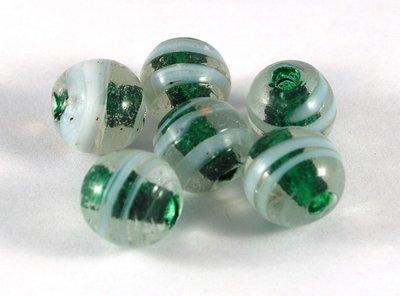 Lotto 2 perle sfera verdi vetro di murano 1,5 cm