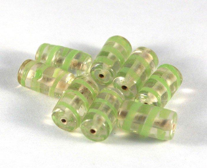 Lotto 2 perle tubo trasparente verde vetro murano 2 cm