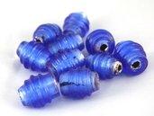 perle a spirale 2 pezzi 2cm blu cobalto foglia argento
