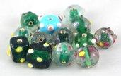 perle lotto 13 pezzi misure forme e colori vari vetro