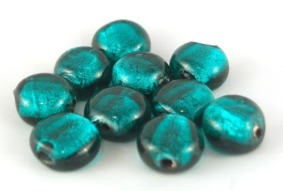 perle PASTIGLIA 2 pezzi 1,5cm verdi foglia argento
