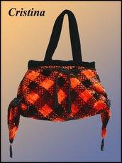 Borsetta elegante arancione-nera