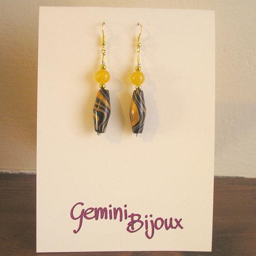 Orecchini Fimo e perle gialle