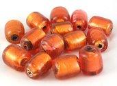 perle tubo vetro 2 pezzi 2cm arancione foglia argento