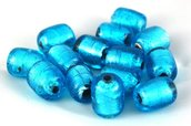 perle tubo vetro 2 pezzi 2cm azzurro foglia argento