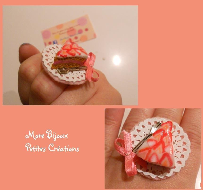 Anello fetta di torta fragole - rosa