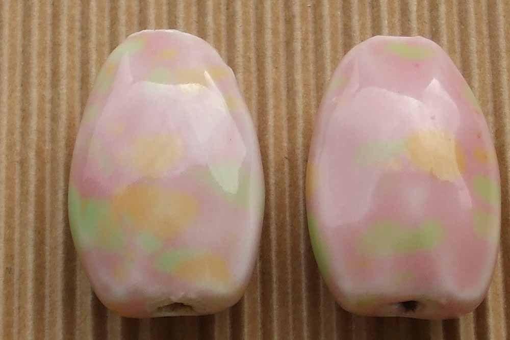 2 maxi perle ceramica rosa