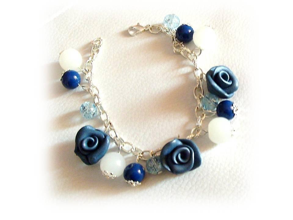 Bracciale fimo rose blu