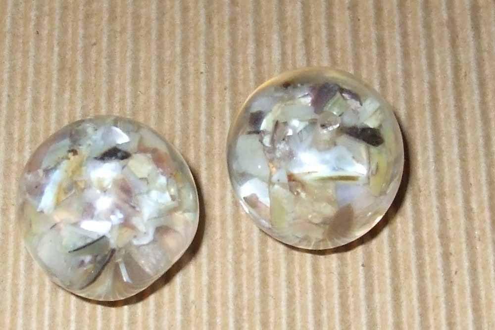 2 maxi perle resina 22mm con inserti madreperla