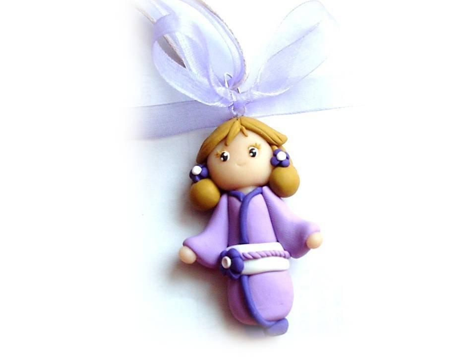 Collana kokeshi doll lilla fimo