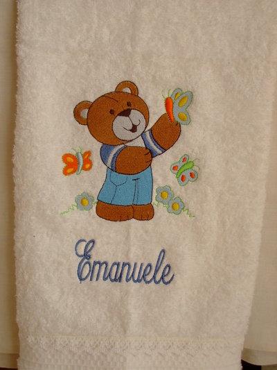 Ascuigamano bianco, ricamato personalizzato con nome.White Towel embroidered,with name,personalized.