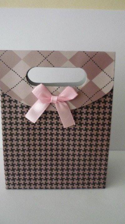 Gift bag rosa chiusura in velcro