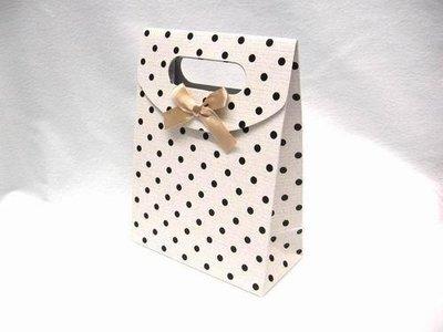 Gift bag crema a pois chiusura in velcro