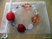Bracciale LOVE rosso cuore perla cotone lucite argento molla