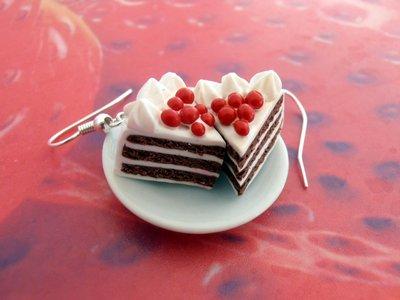 Orecchini torta tre strati in Fimo