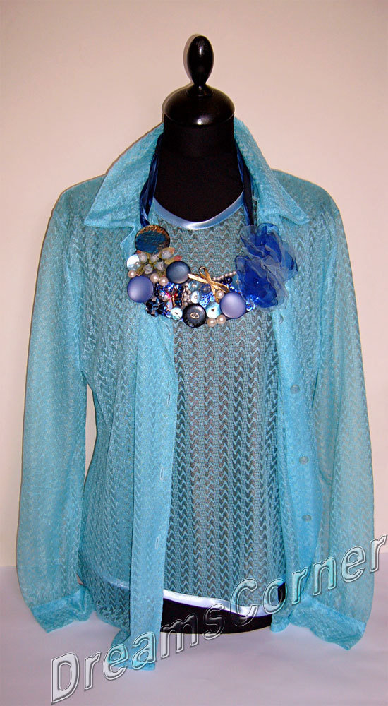 Vintage 1980 Gemello in pizzo color turchese taglia 46 - Vintage 80s - Lace peacock blue twin set size 36 /12 - (USA size)