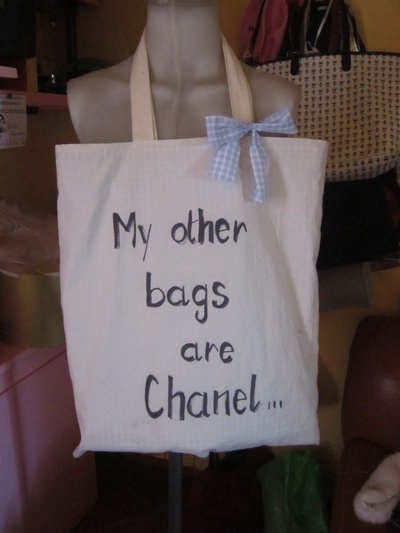"shopping bag ""my other bags are chanel"""
