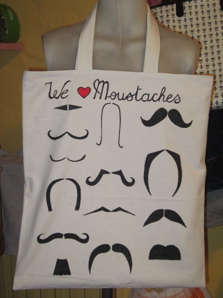 "shopping bag ""we <3 moustaches"""