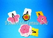 Mollette per capelli farfalle e fiori uncinetto