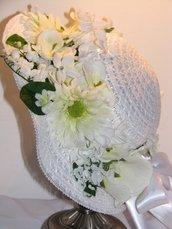 Cappelli White Spring e Tea Party /Fresh Spring White Tea Party/Easter Hat Little Girls Dress Up