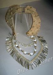 Collana con collo vintage in pizzo macramè, perle, cristalli, con frangia in cannelli di vetro - Cream color italian macrame lace, beads, pearl and Swarovski Crystal - OOAK bridal necklace