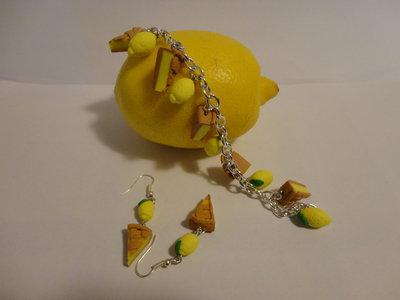 bracciale e orecchini torta limone