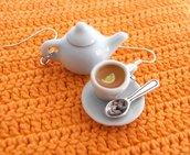 Teiera e tazza di té - orecchini