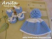 Corredino bimbo, scarpette e cappellino in lana