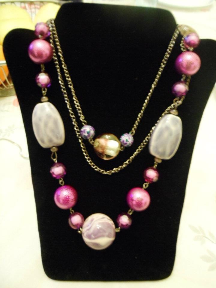 Collana lunga con pietre tonalità lilla e viola