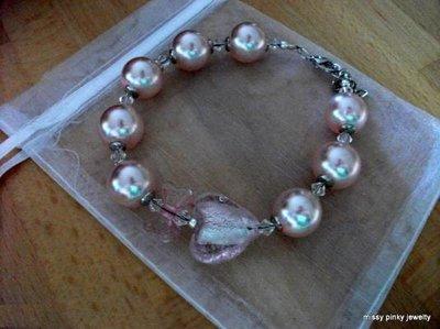 """Bracciale """"Pink Heart"""" perle cristalli cuore vetro fiocco lucite rosa"""
