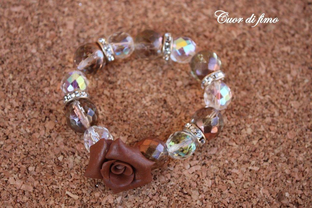 bracciale perle swarovski e rosa in fimo