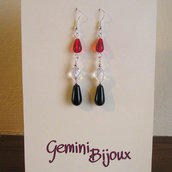 Orecchini Black Crystal Red
