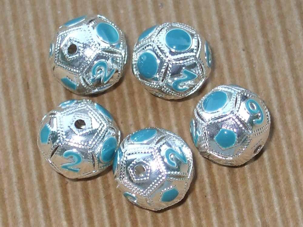 5 perle metallo pallone da calcio smaltato
