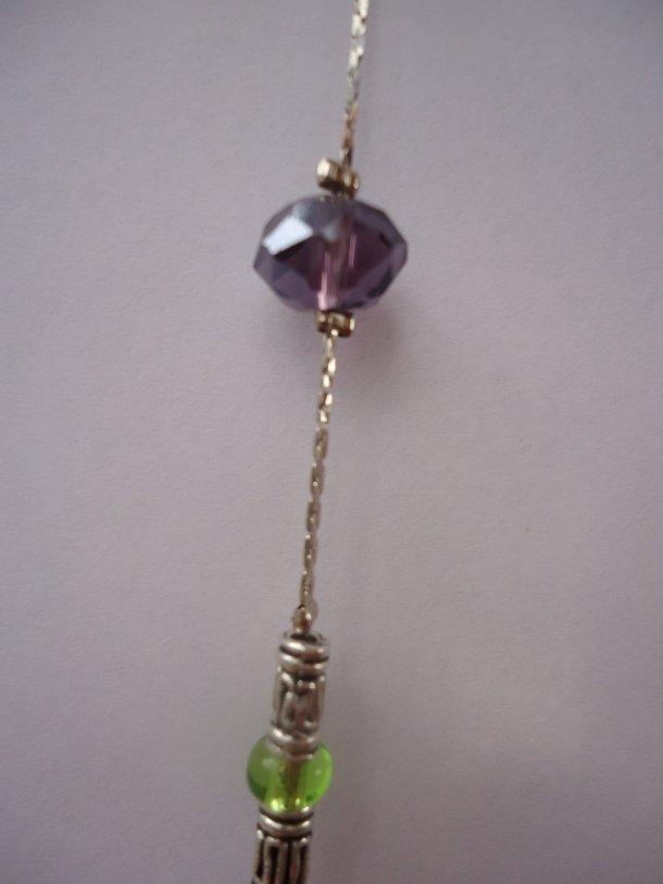 collana mezzi cristalli e perle in metallo
