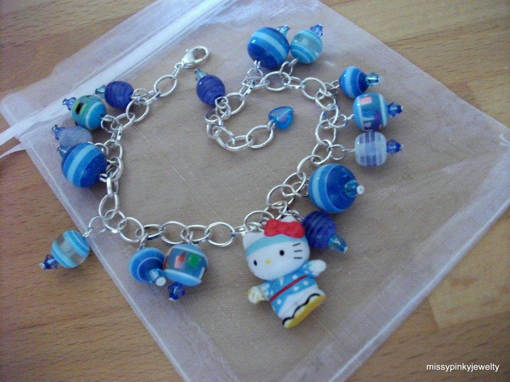 """Hello Kitty """"In Blue"""" bracciale argento lucite blu azzuro righe ciondolo"""